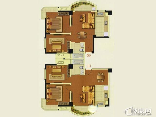 富安华庭精英荟09-10户型2室2厅1卫 83.14㎡