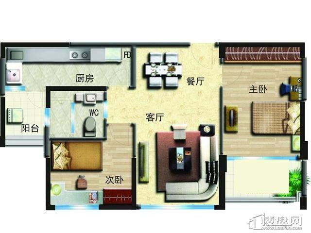 花园洋房B户型2室2厅1卫1厨 90.00㎡
