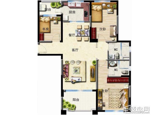 洋房A户型3室2厅2卫1厨 127.00㎡