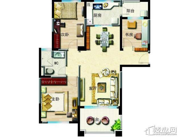 洋房C户型3室2厅1卫 120.00㎡