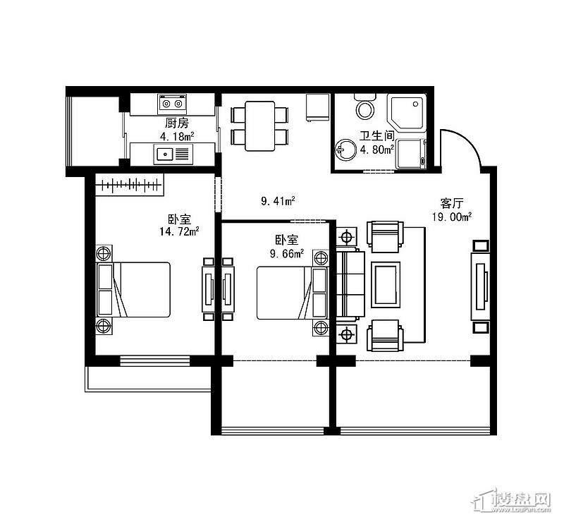 北区B户型2室2厅1卫1厨