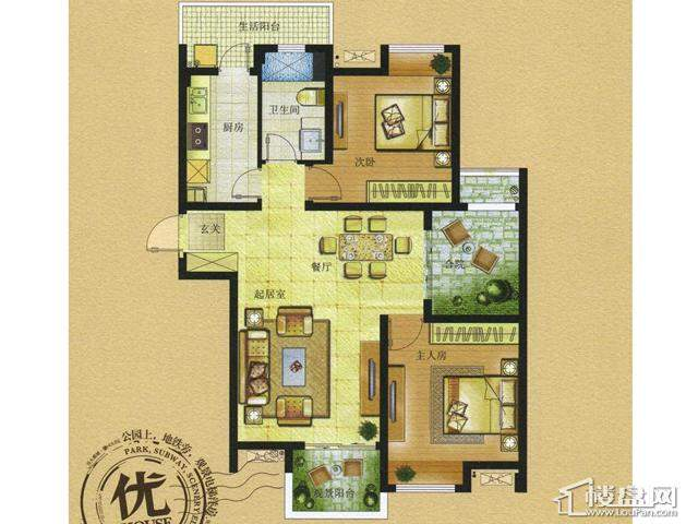 HOUSE C3-2户型2室2厅1卫 89.00㎡