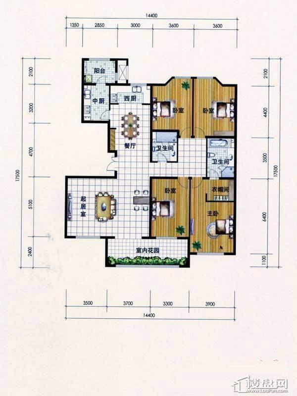 东岸国际T-1四室两厅两卫两厨