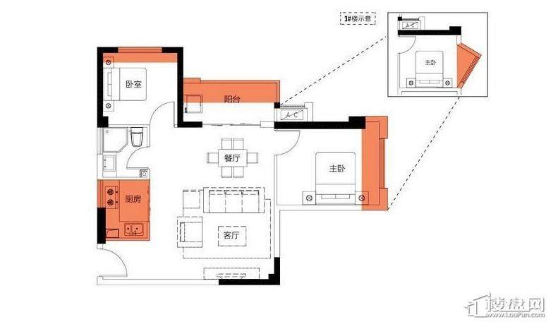 2房65平米户型图