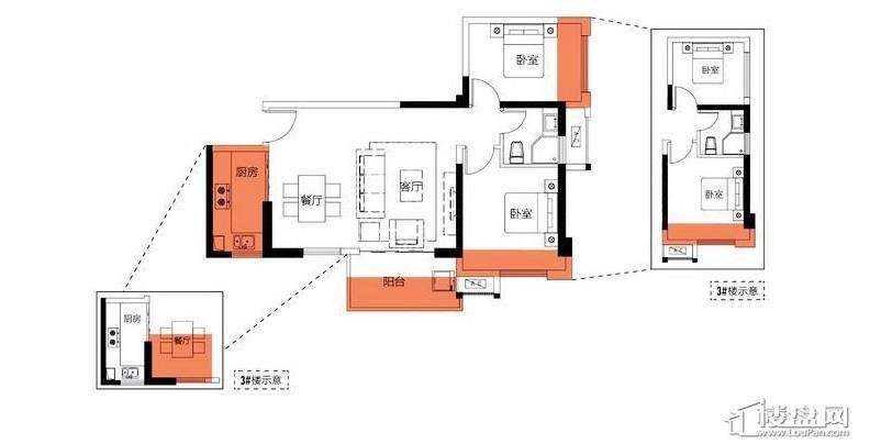 2房75平米户型图
