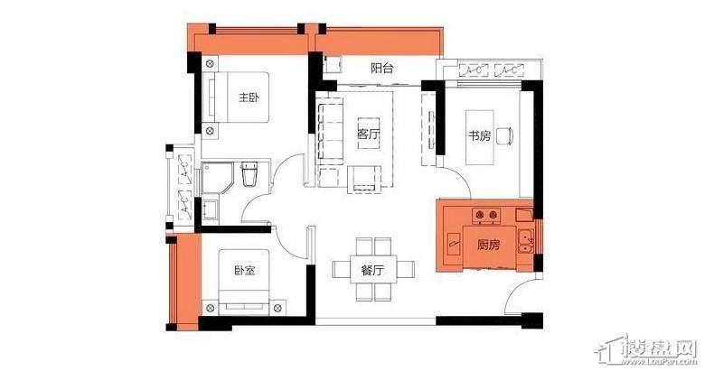 2房84平米户型图