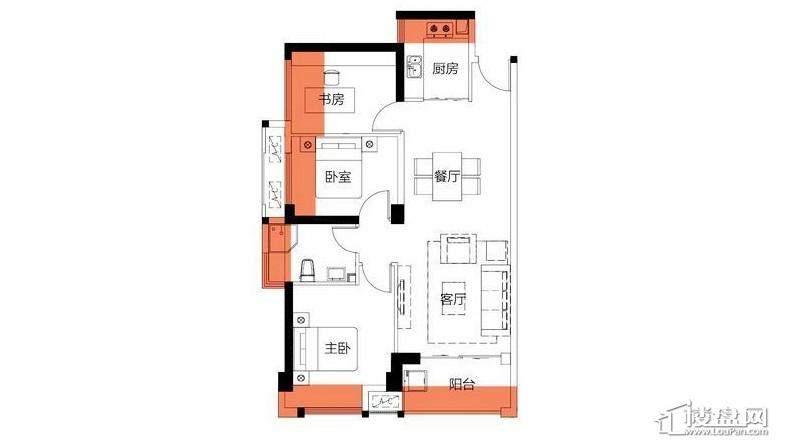 2房88平米户型图