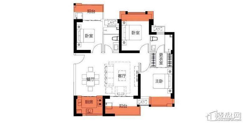 3房101平米户型图