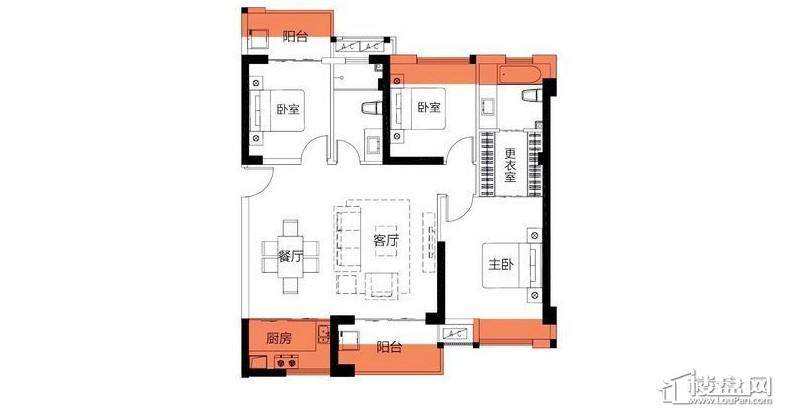 3房118平米户型图