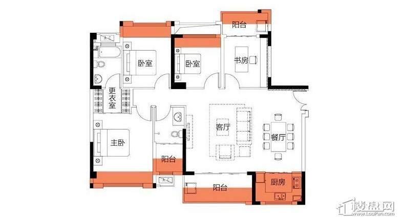 3房130平米户型图