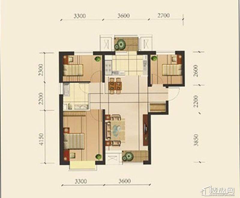 一期高层产品标准层A户型3室2厅1卫1厨