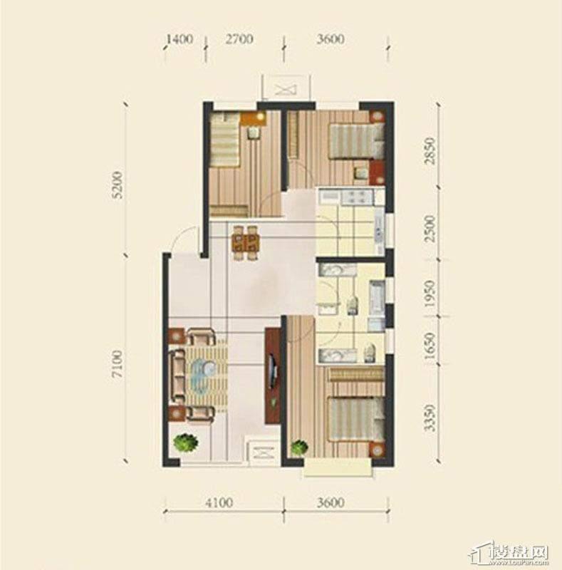 一期高层产品标准层E户型3室2厅2卫1厨