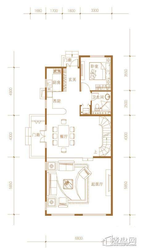 39-58号楼联排别墅Ea户型首层5室3厅3卫1厨