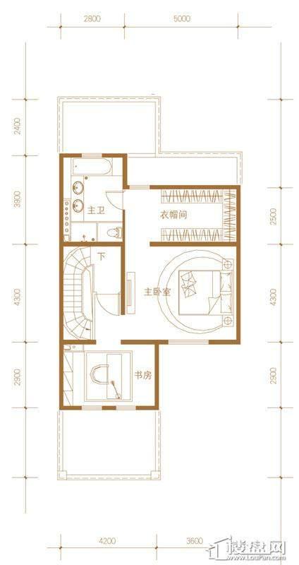 39-58号楼联排别墅Eb户型三层6室3厅4卫1厨