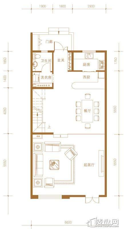 39-58号楼联排别墅Mb户型首层5室2厅4卫1厨