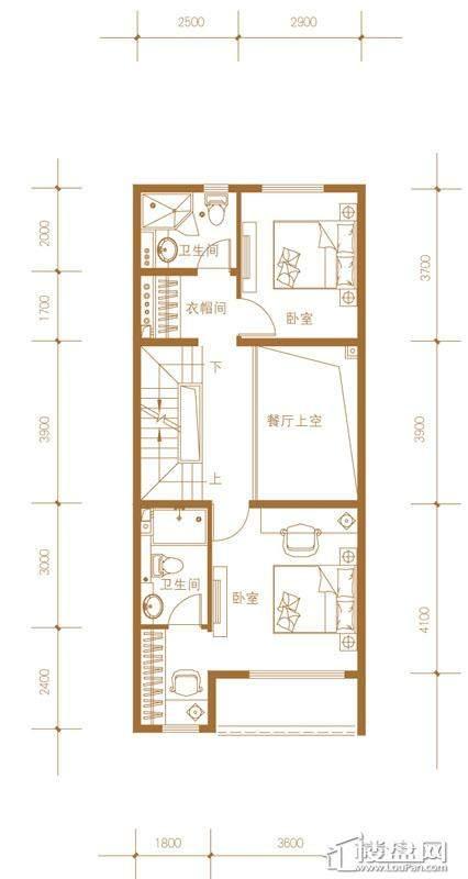 39-58号楼联排别墅Mc户型二层4室2厅4卫1厨