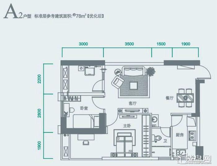 华侨城双子座A2户型图