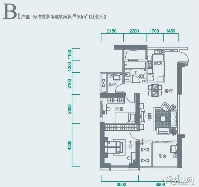 华侨城双子座B1户型图