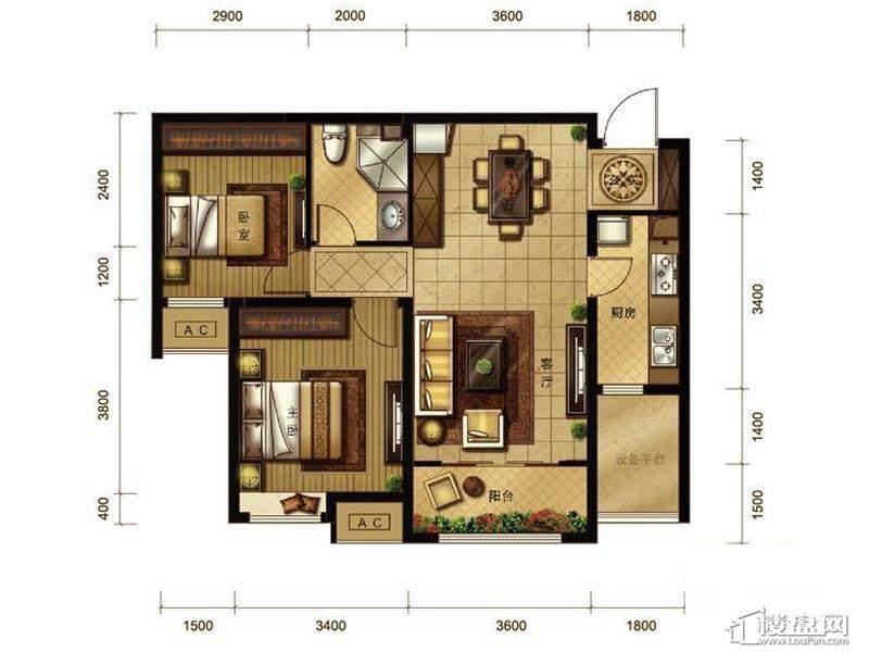 一期高层标准层2室户型