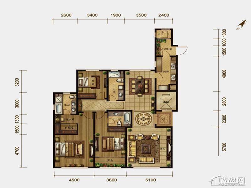 一期高层标准层3室户型3室2厅3卫