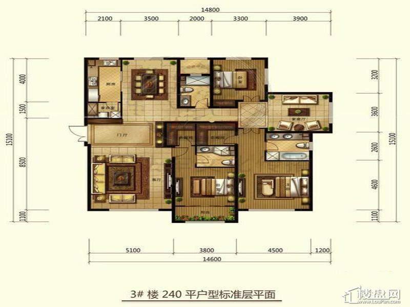 一期高层标准层3室户型3室3厅3卫1厨