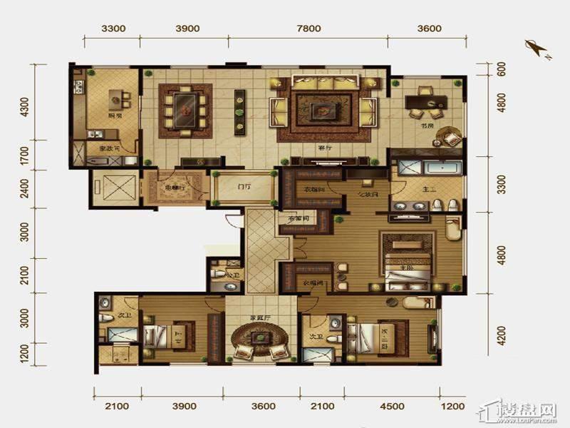 一期高层标准层3室户型