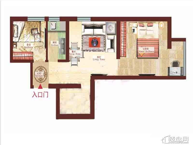 一期1号楼标准层2室户型