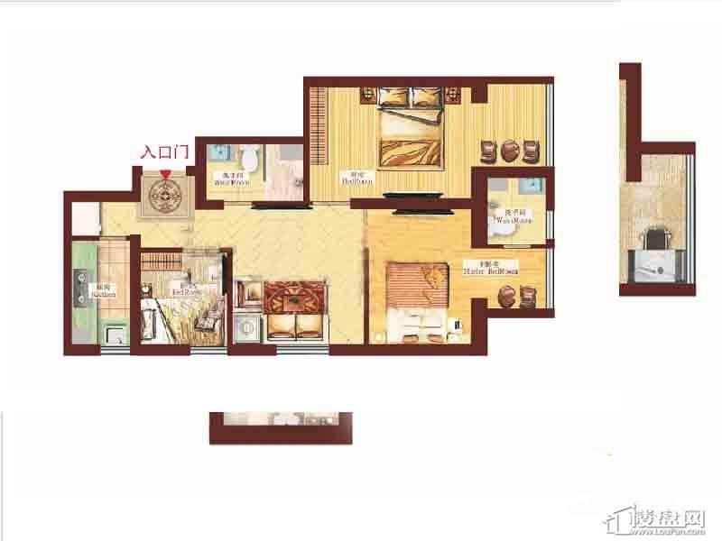 一期1号楼标准层3室户型图