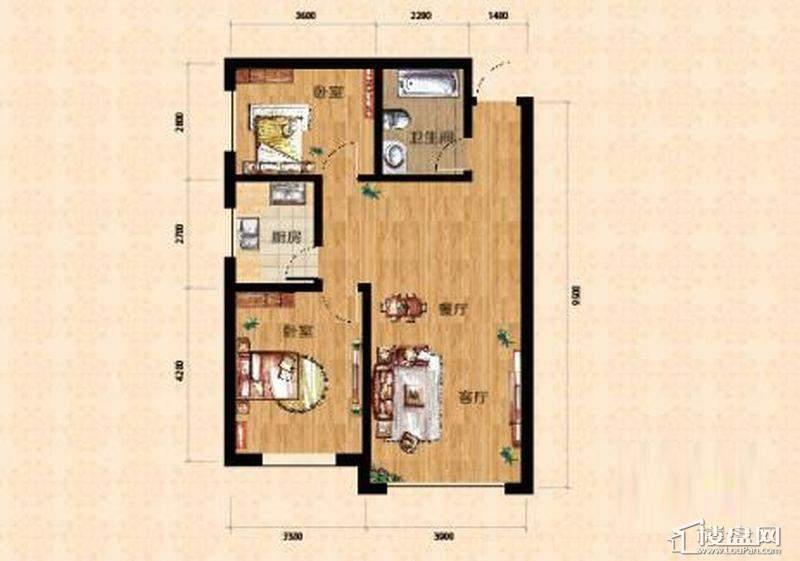 小高层一期5、6号楼标准层B户型