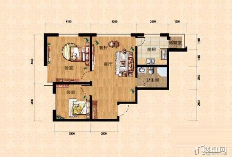 小高层一期5、6号楼标准层A户型