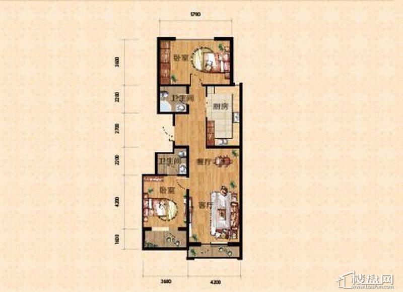 高层一期4、7号楼标准层B户型