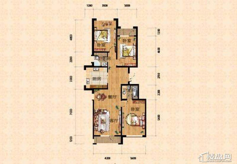 高层一期4、7号楼标准层A户型