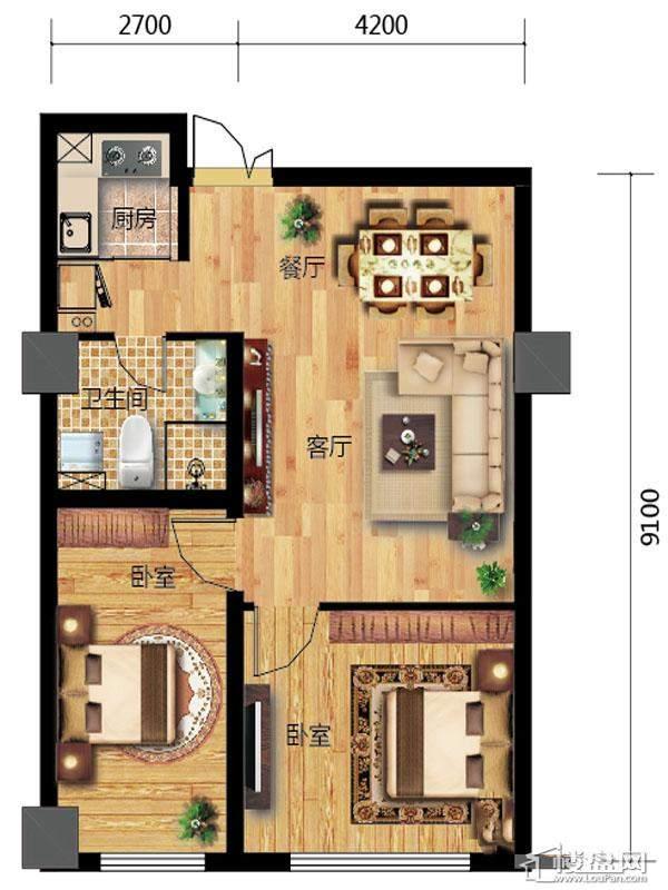一期高层标准层E户型2室2厅1卫1厨