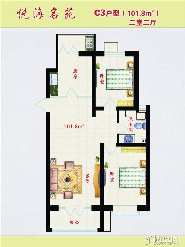 C3户型2室2厅1卫1厨
