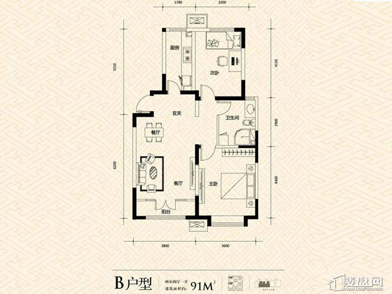 3期14号楼标准层B户型
