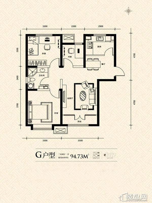 3期14号楼标准层G户型