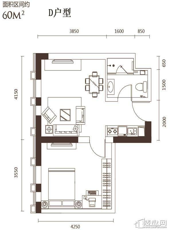 2号楼标准层D户型