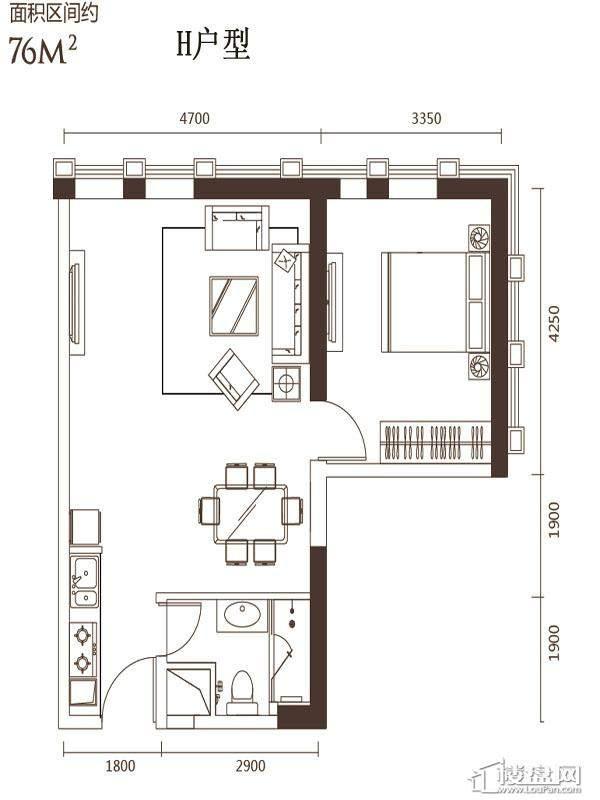 2号楼标准层H户型