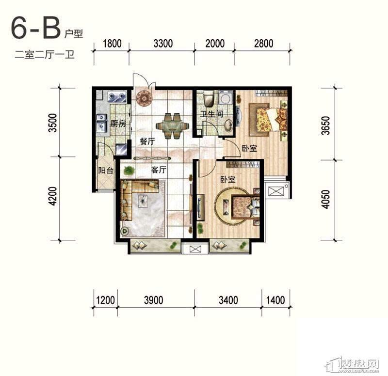 一期6号楼标准层B户型