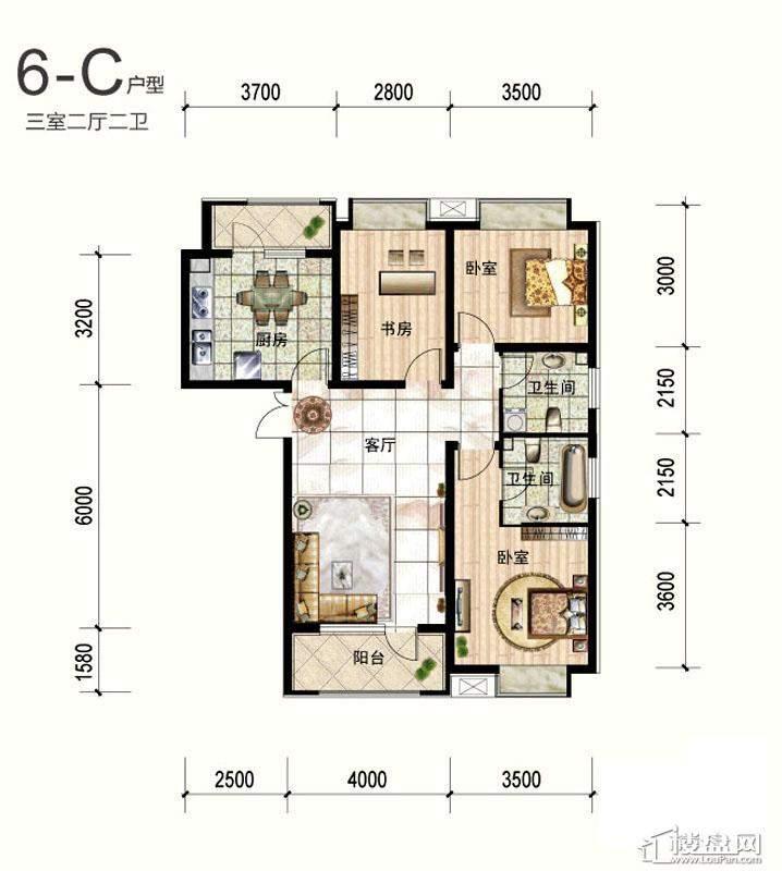 一期6号楼标准层C户型