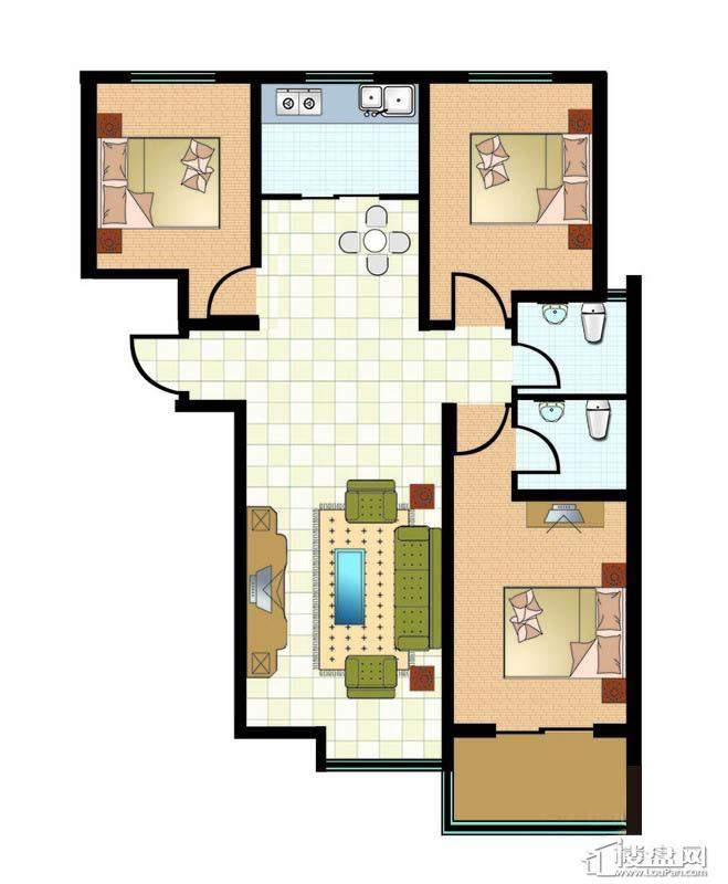 1#4#标准层三房户型图