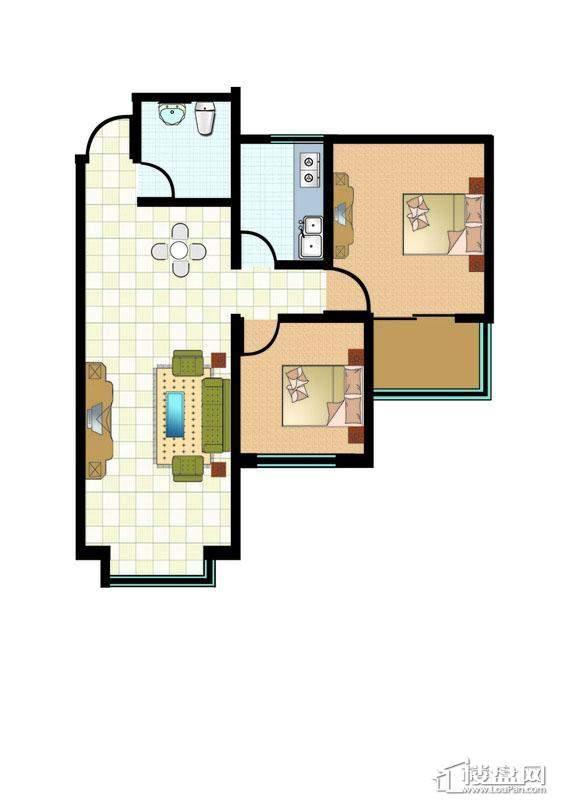 1#4#标准层两房户型图