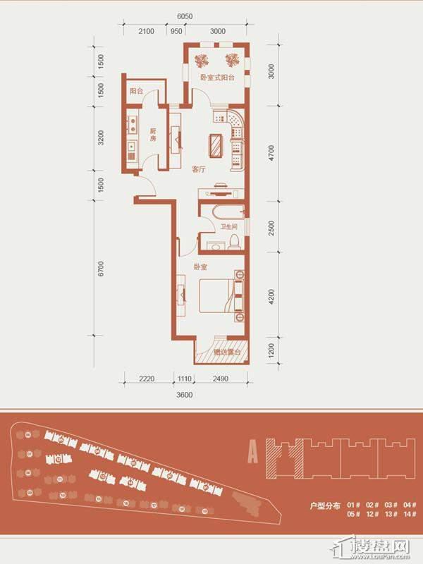 一期1号楼标准层A户型图