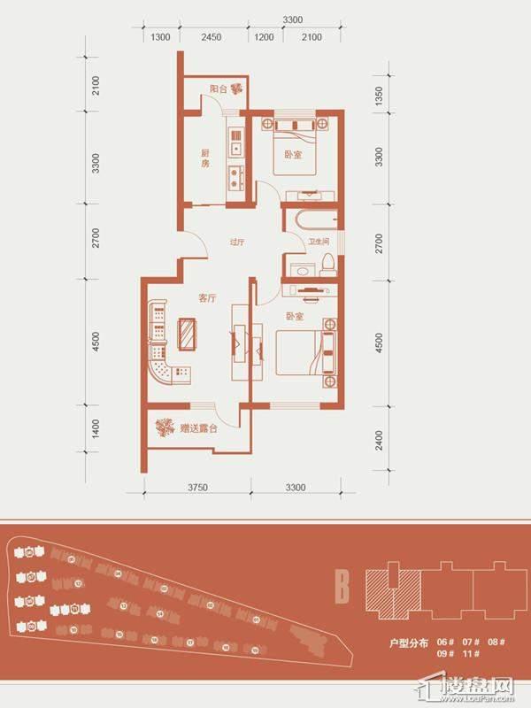 一期1号楼标准层B户型图