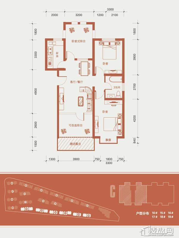 一期1号楼标准层C户型图