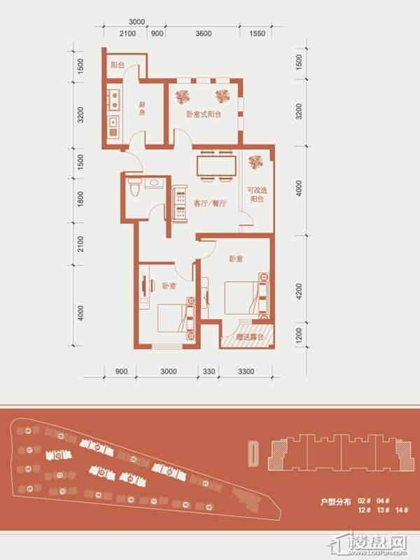 一期1号楼标准层D户型图