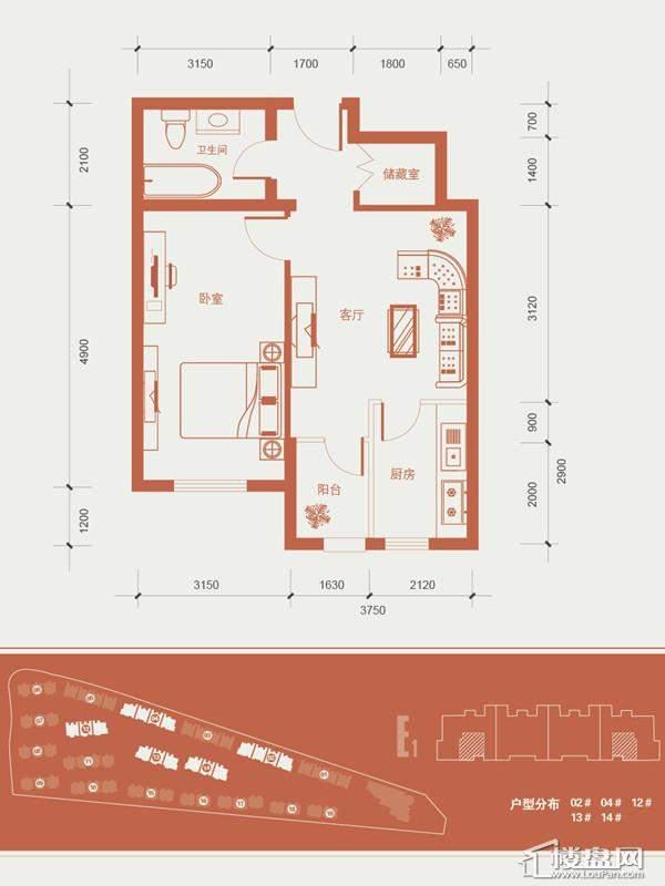 一期1号楼标准层E1户型图