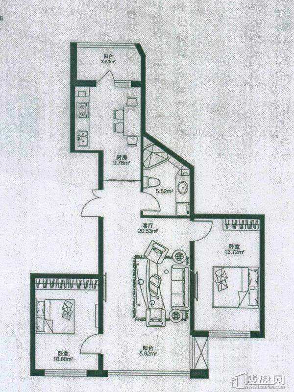 悦山国际样板房二期户型D2室1厅1卫1厨