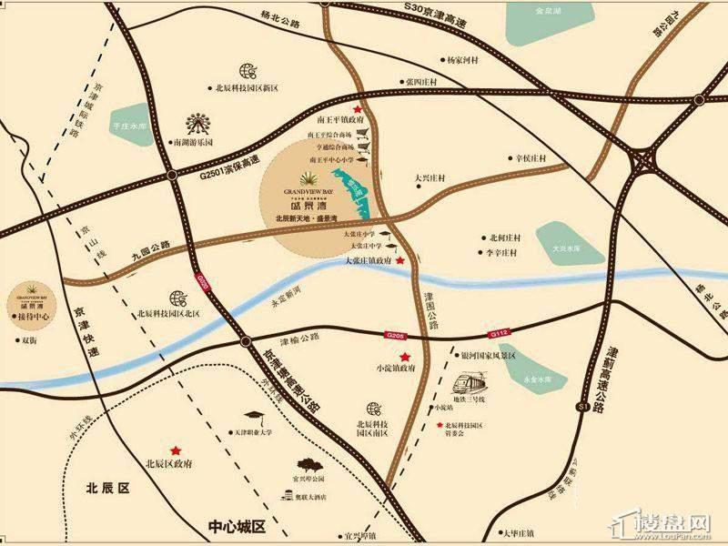 北辰新天地盛景湾交通图及周边配套设施 天津楼盘网 高清图片