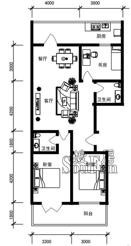 新橙空间b户型三室两厅两卫132.5